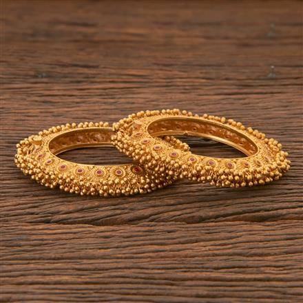 204309 Antique South Indian Bangles With Matte Gold Plating