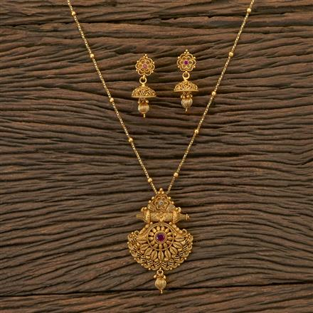 204313 Antique Delicate Pendant Set With Matte Gold Plating