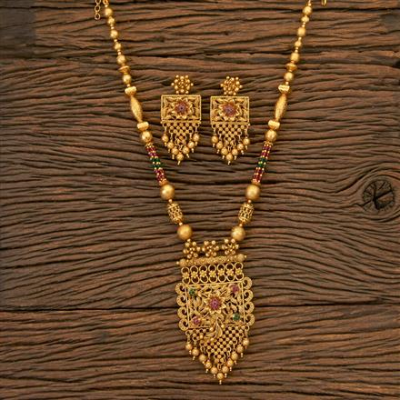204317 Antique South Indian Pendant Set With Matte Gold Plating