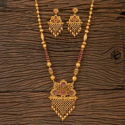 204318 Antique South Indian Pendant Set With Matte Gold Plating