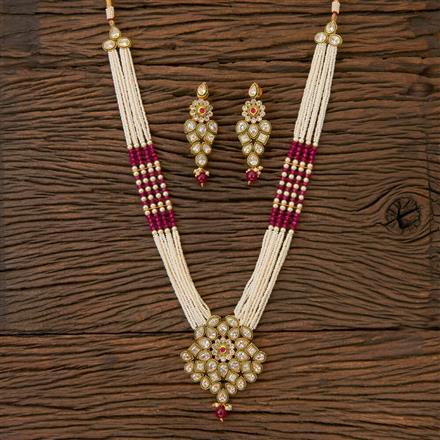 204333 Antique Mala Pendant Set With Gold Plating