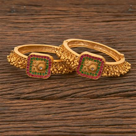 204336 Antique South Indian Bangles With Matte Gold Plating