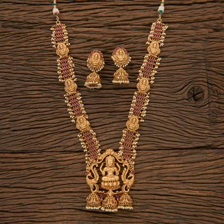 204346 Antique Long Necklace With Matte Gold Plating