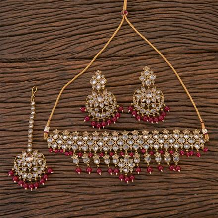204349 Antique Choker Necklace With Mehndi Plating