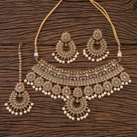 204350 Antique Choker Necklace With Mehndi Plating