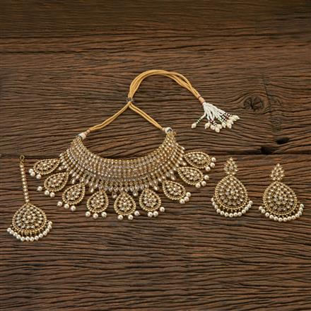 204351 Antique Choker Necklace With Mehndi Plating