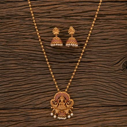 204352 Antique Peacock Pendant Set With Matte Gold Plating