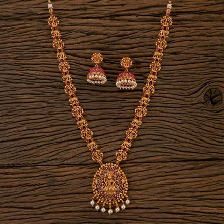 204354 Antique Long Necklace With Matte Gold Plating