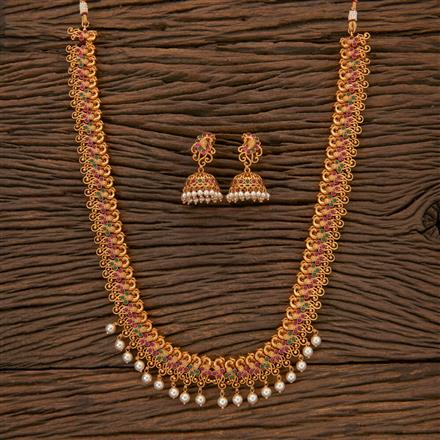 204355 Antique Peacock Necklace With Matte Gold Plating