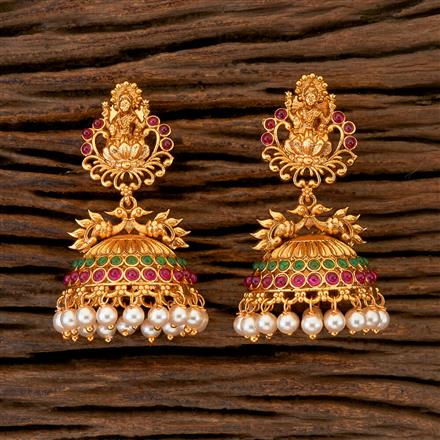 204357 Antique Jhumkis With Matte Gold Plating