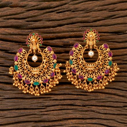204358 Antique Chand Earring With Matte Gold Plating