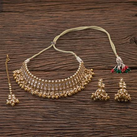204363 Antique Choker Necklace With Mehndi Plating