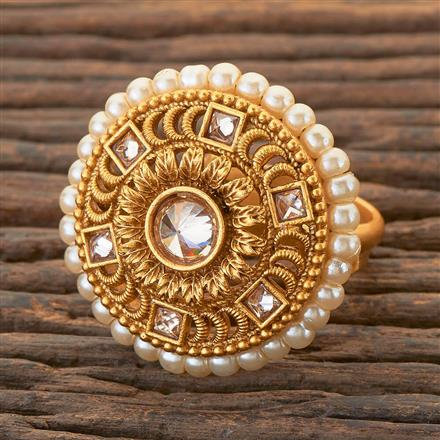 204374 Antique Classic Ring With Matte Gold Plating