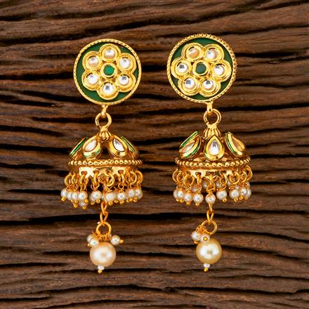 204387 Antique Jhumkis With Gold Plating