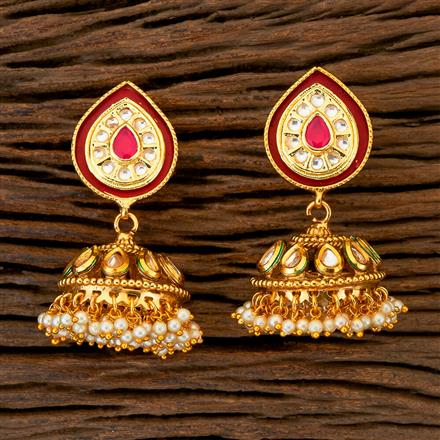 204389 Antique Jhumkis With Gold Plating