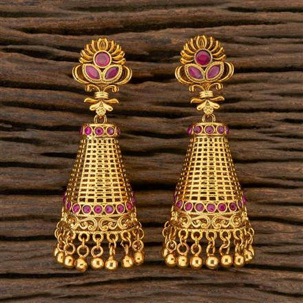 204391 Antique Jhumkis With Gold Plating