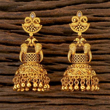 204392 Antique Peacock Earring With Gold Plating