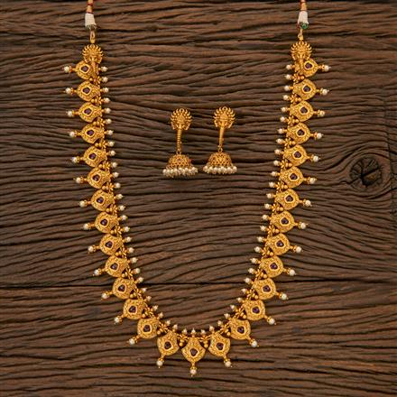 204393 Antique Long Necklace With Matte Gold Plating