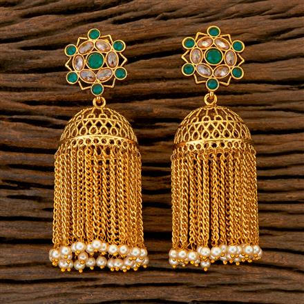 204398 Antique Jhumkis With Gold Plating