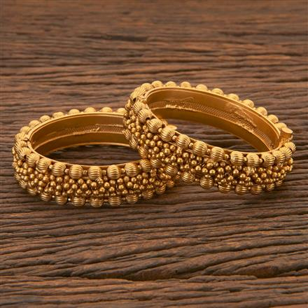 204413 Antique Openable Bangles With Matte Gold Plating