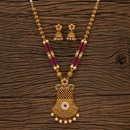204414 Antique Peacock Pendant Set With Gold Plating