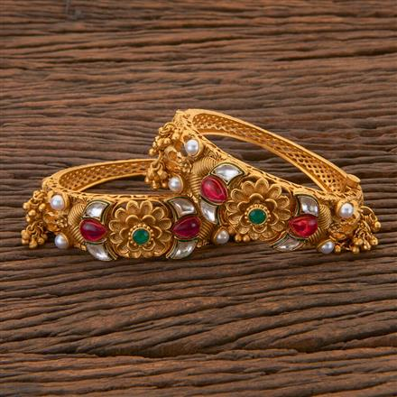 204415 Antique Openable Bangles With Matte Gold Plating