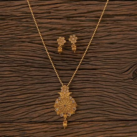 204420 Antique Delicate Pendant Set With Matte Gold Plating