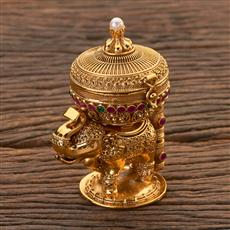 204447 Antique Classic Sindoor Box With Gold Plating