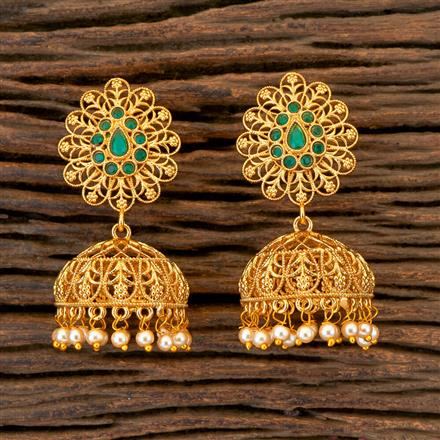 204454 Antique Jhumkis With Gold Plating