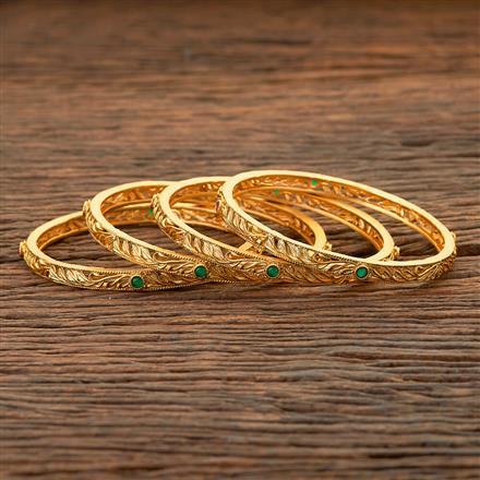 204502 Antique Classic Bangles With Matte Gold Plating