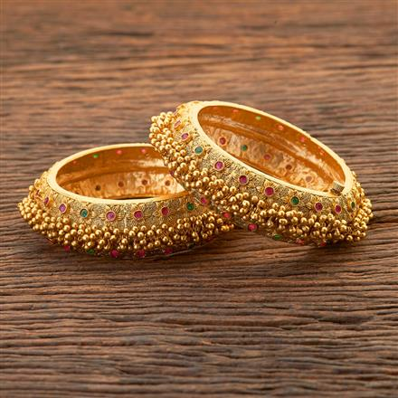 204503 Antique Openable Bangles With Matte Gold Plating