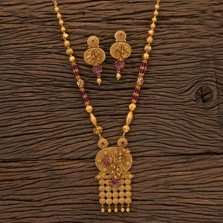 204540 Antique Mala Pendant Set With Matte Gold Plating