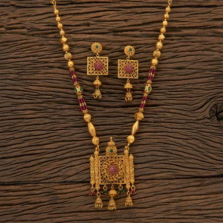 204541 Antique Mala Pendant Set With Matte Gold Plating