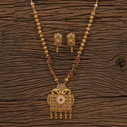 204555 Antique Mala Pendant Set With Gold Plating