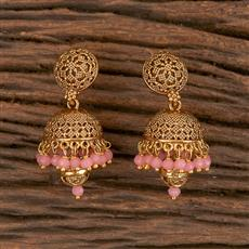 204560 Antique Jhumkis With Gold Plating