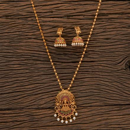 204561 Antique Peacock Pendant Set With Matte Gold Plating