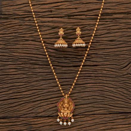 204577 Antique Temple Pendant Set With Matte Gold Plating