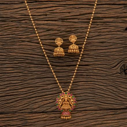 204608 Antique Peacock Pendant Set With Matte Gold Plating