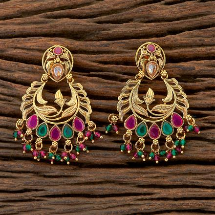 204611 Antique Chand Earring With Gold Plating