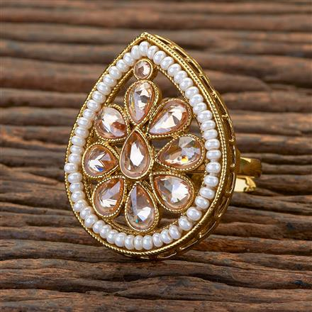 204642 Antique Classic Ring With Mehndi Plating