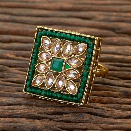 204643 Antique Classic Ring With Mehndi Plating