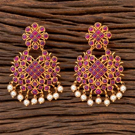 204669 Antique Classic Earring With Matte Gold Plating