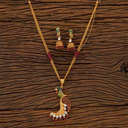 204675 Antique Peacock Pendant Set With Matte Gold Plating