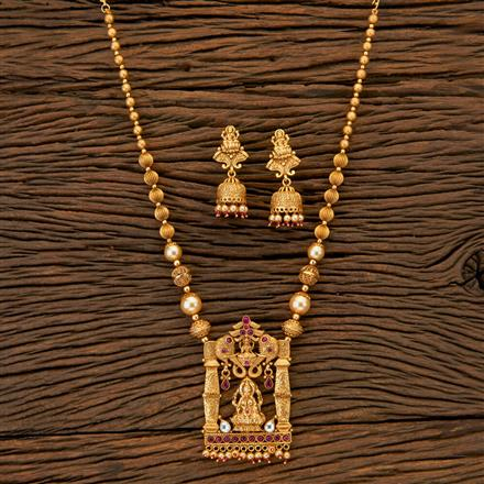 204676 Antique Mala Pendant Set With Matte Gold Plating