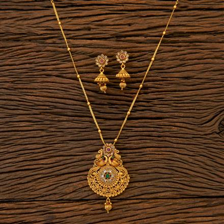204695 Antique Peacock Pendant set with matte gold plating