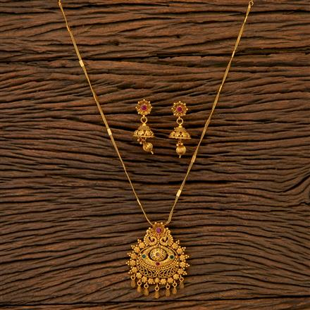 204696 Antique Peacock Pendant set with matte gold plating