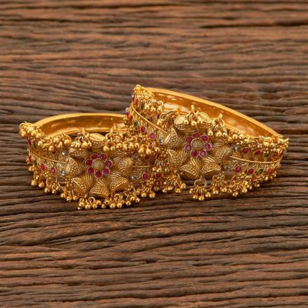 204699 Antique Openable Bangles with matte gold plating