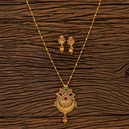 204726 Antique Peacock Pendant set with matte gold plating