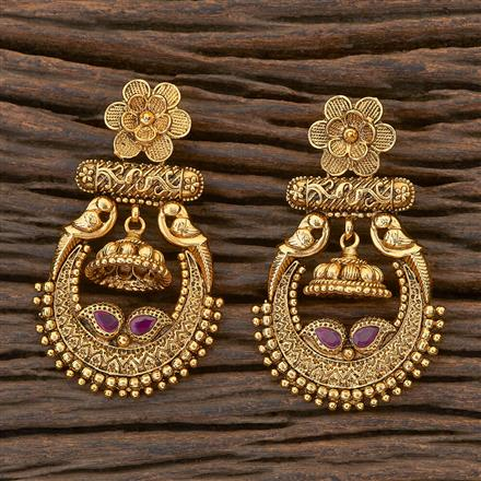 204750 Antique Chand Earring with gold plating