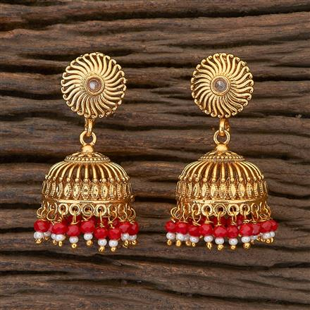 204760 Antique Jhumkis with gold plating